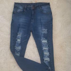 Blue Jeans High Waist Stretch